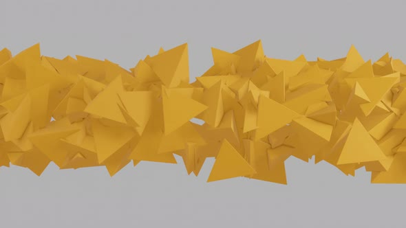 Abstract 3D rendered yellow pyramids on a white background. Minimal motion graphic [Nulled Download]